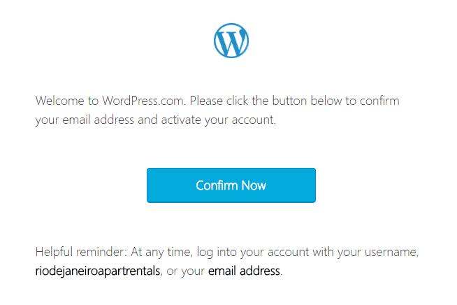 Email de confirmação do WordPress