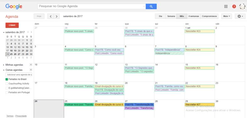 calendário editorial de email marketing