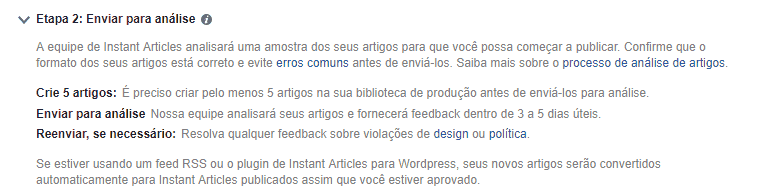 Instant Articles: Configuração