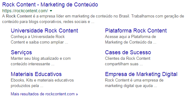 rich snippets site link