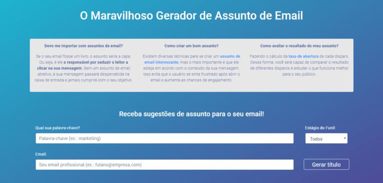 Gerador de Assuntos de Email