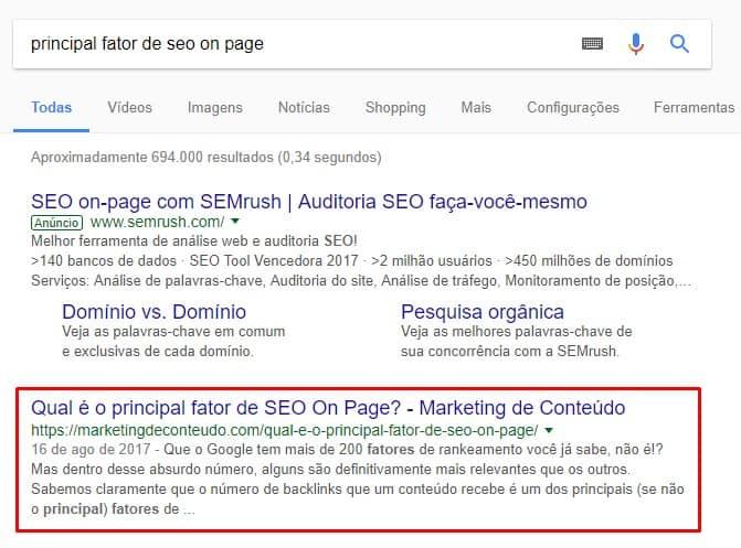 """SERP para a busca """"principal fator de seo on page"""""""