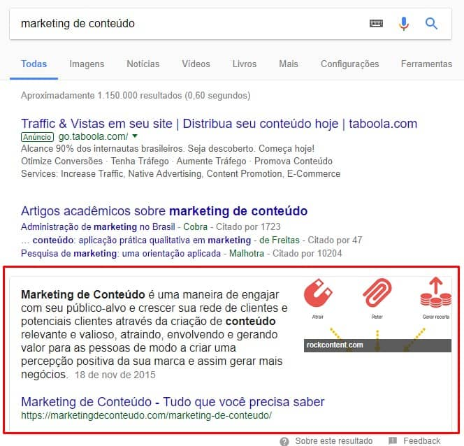featured snippet para marketing de conteúdo