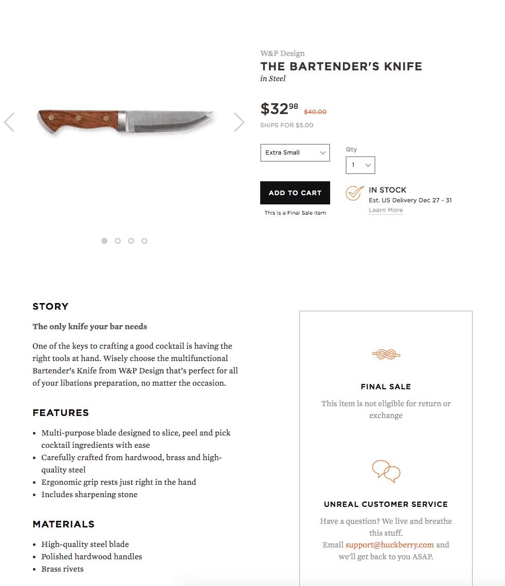 Descrição de produto Huckberry