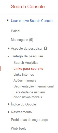 Links para seu site no Search Console