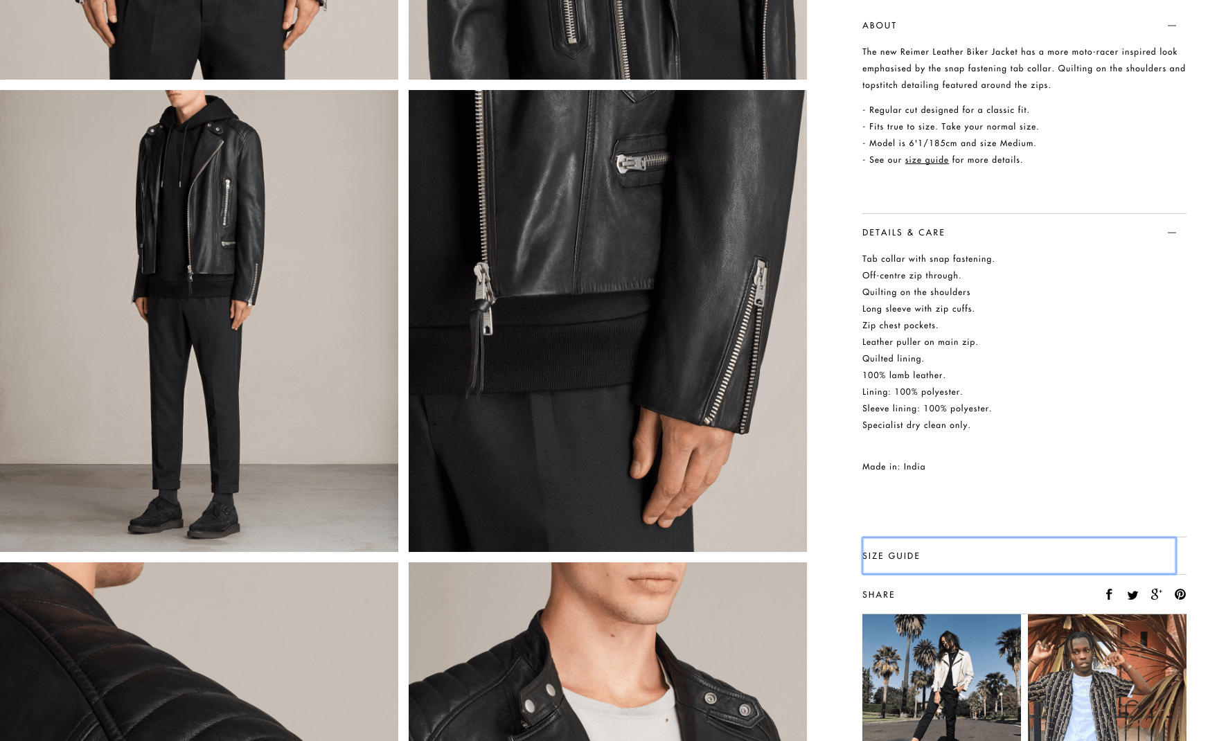Descrição de jaqueta de couro em e-commerce