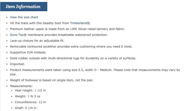 Descrição de produto da Zappos
