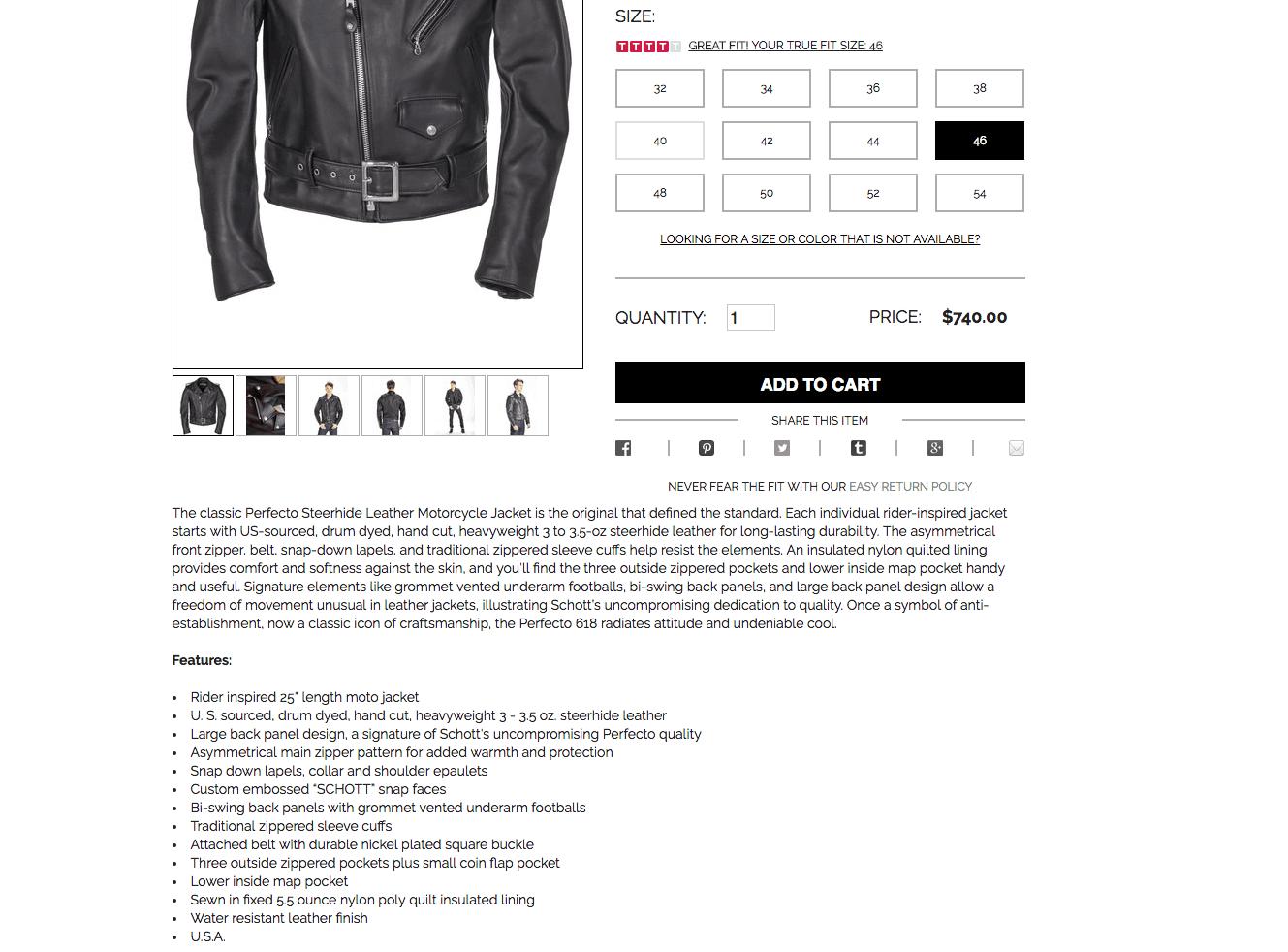 Descrição de jaqueta de couro em um e-commerce