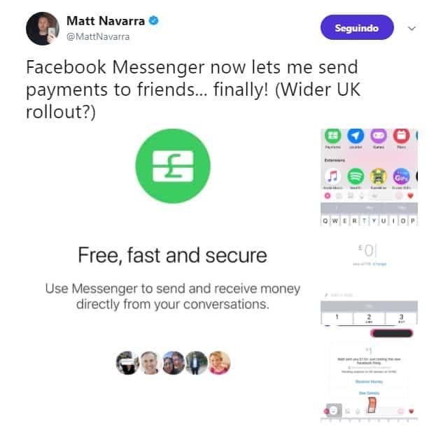 Pagamentos no Facebook Messenger