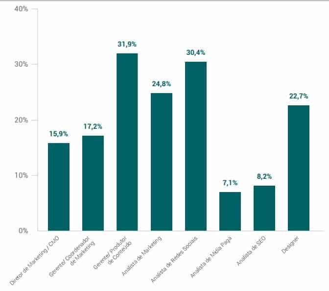 Cargos em times de marketing de empresas com até 25 funcionários