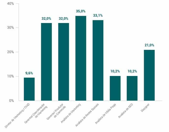 Composição dos times de marketing em empresas com mais de 100 funcionários