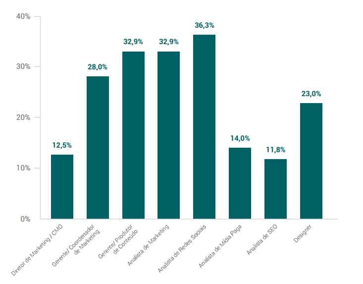 Composição dos times de marketing em empresas de 26 a 100 funcionários