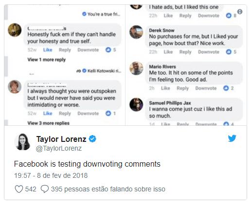 descurtir comentários no facebook