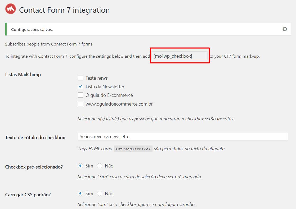Código para integração do formulário