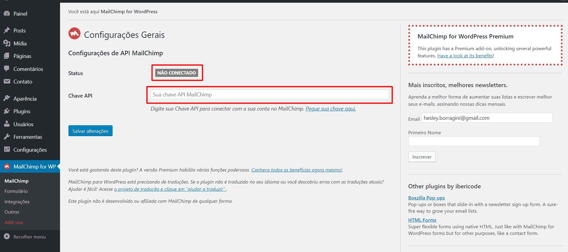 Conectando MailChimp ao WordPress
