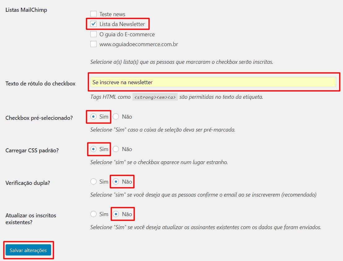 Configurando o formulário de contato