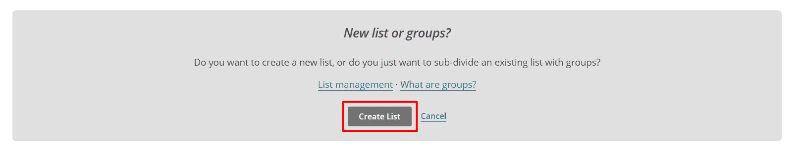 Create list Mailchimp