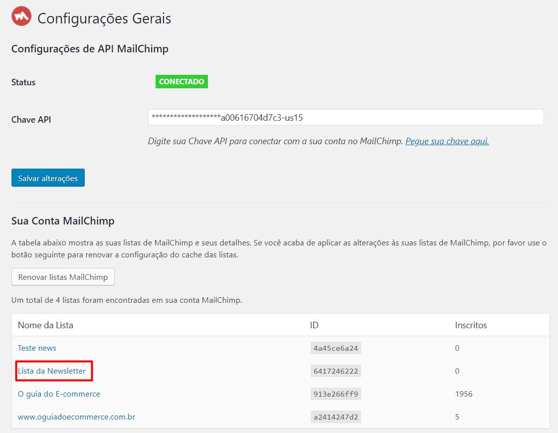 Finalizando a conexão entre MailChimp e WordPress