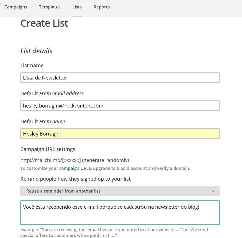Formulário Create List