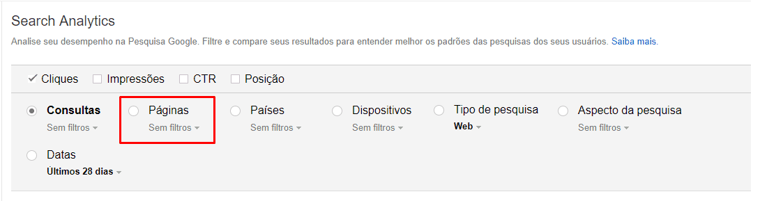 Google Search Console páginas