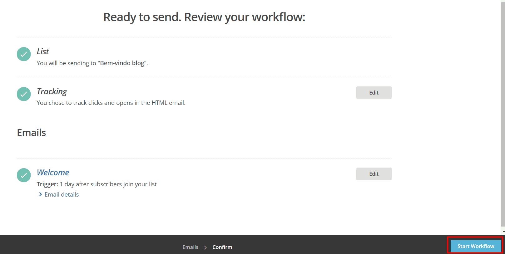 Iniciar fluxo de email