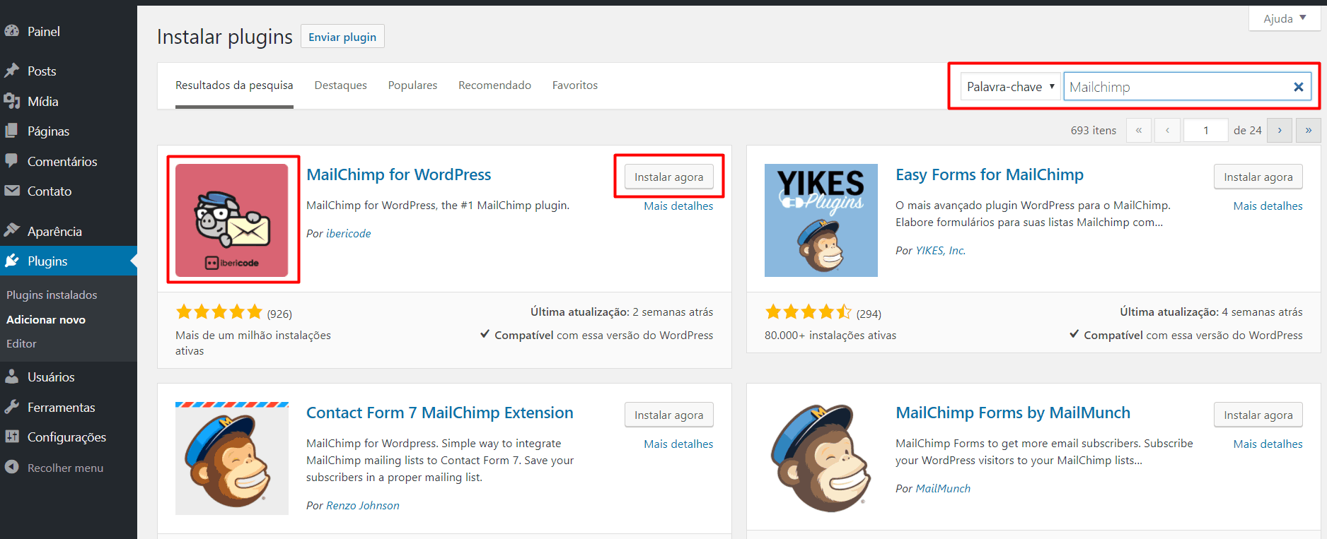 Instalando o MailChimp no WordPress