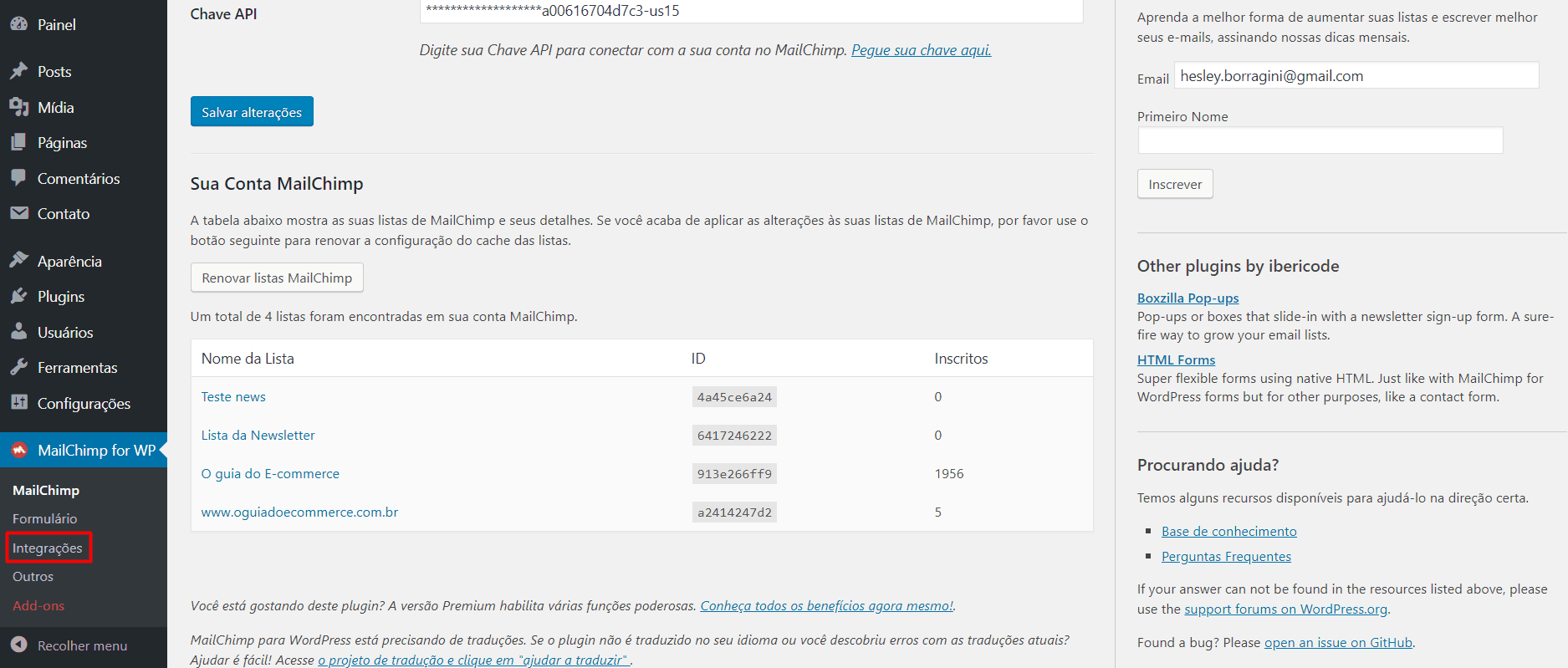 MailChimp WordPress Integrações