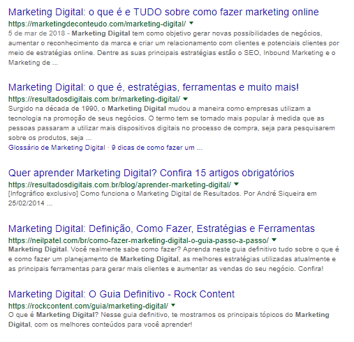 SERP Marketing Digital