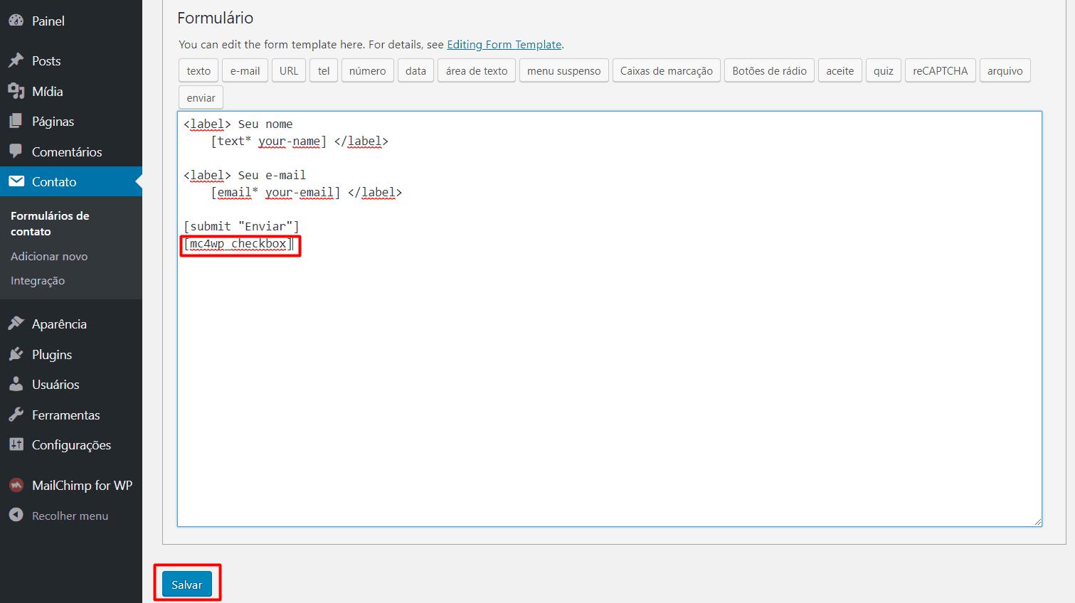 Salvando as configurações dos formulários