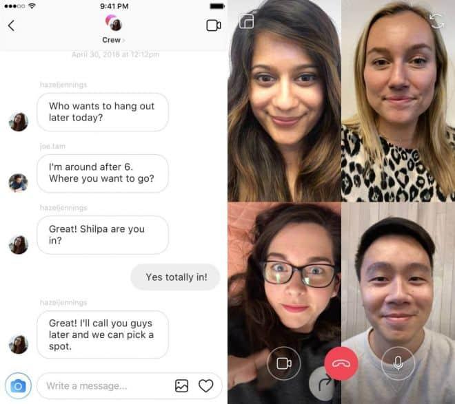 Chamadas por vídeo no Instagram