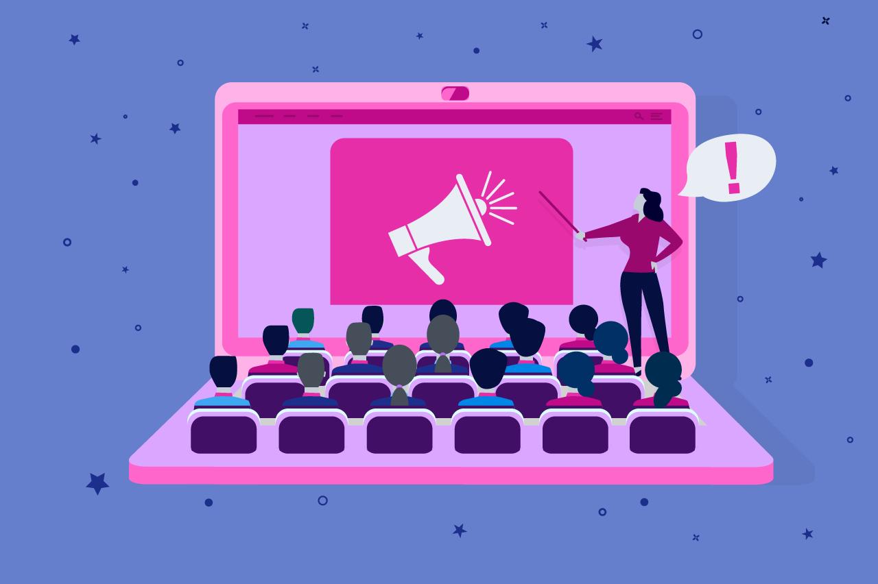 ilustração sobre eventos de publicidade e marketing