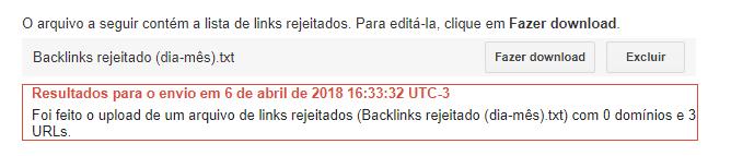 Links rejeitados no Search Console