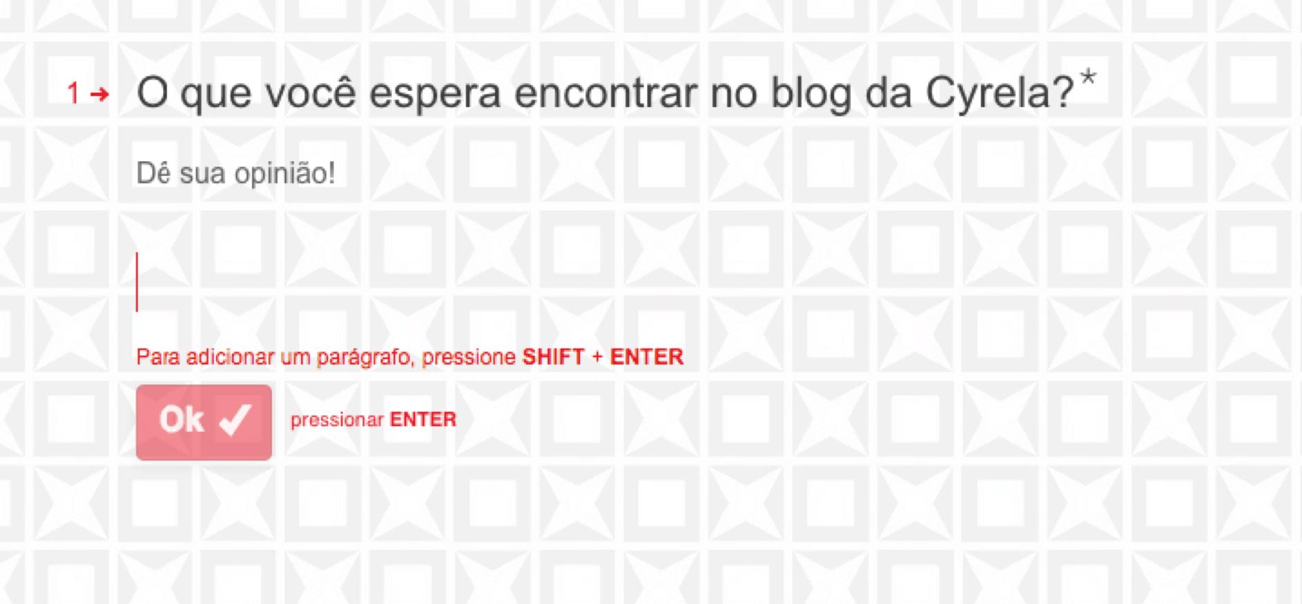 Questionário da Cyrela sobre novas propostas de conteúdo