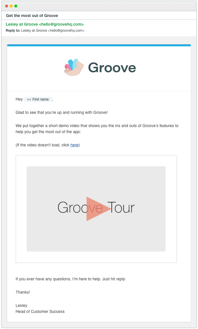 Groove email continuidade