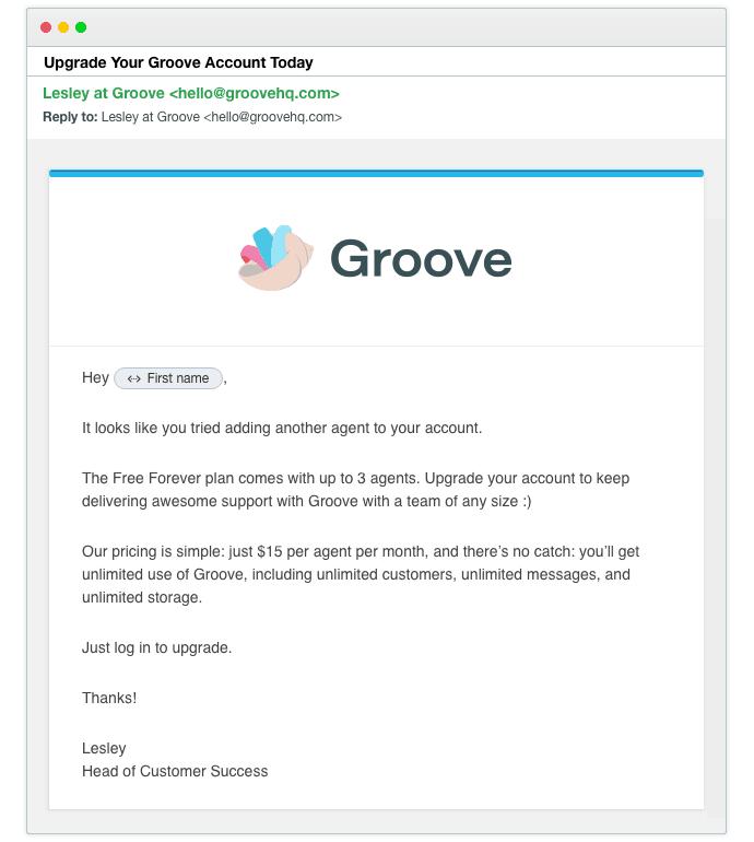 Groove exemplo de email