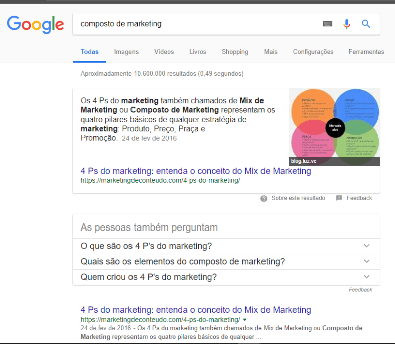 captura de tela - aumentar taxa de conversão com featured snippets