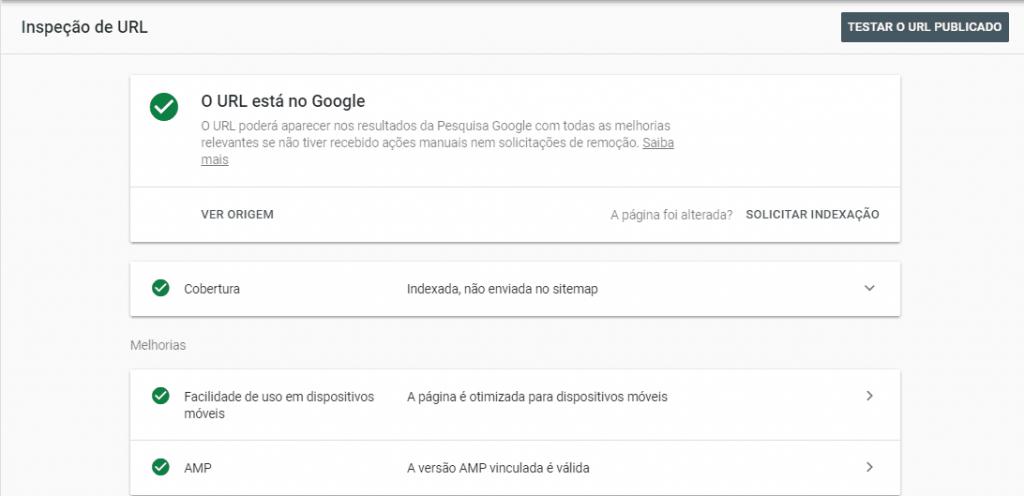 Inspeção de URL no Google Search Console