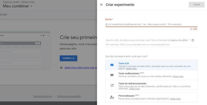 Criar experimento no Google Optimize