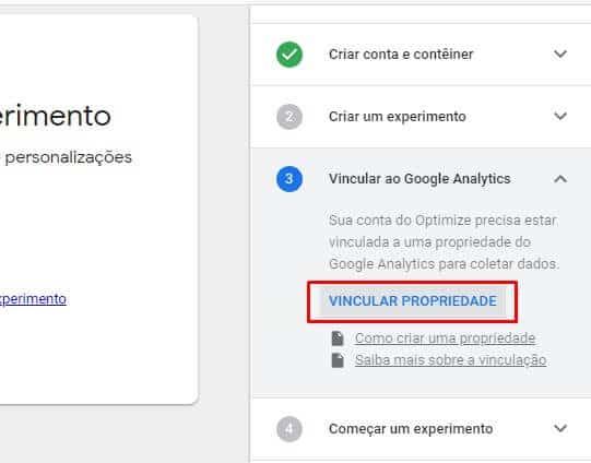 Vinculação Google Optimize com Analytics
