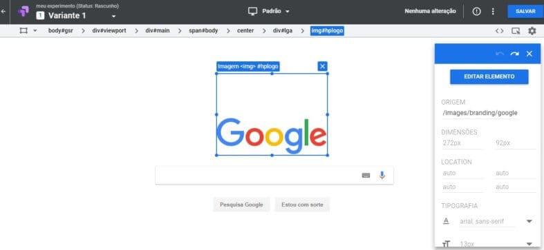Edição visual do Google Optimize