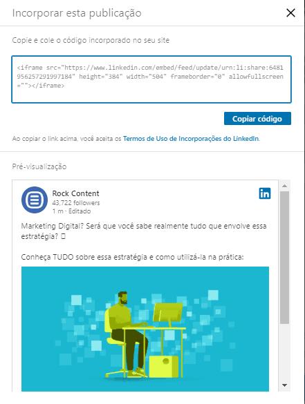embed code LinkedIn