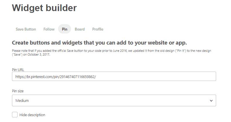 Embed code Pinterest