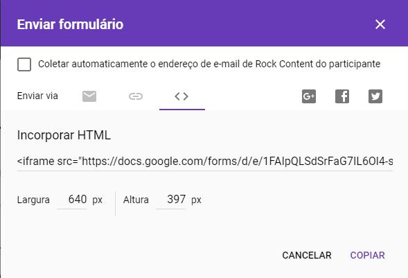 Embed code formulário Google