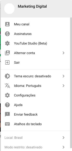 mudar nome do canal do Youtube 1
