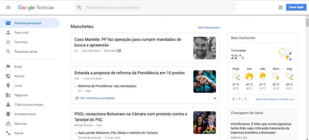 Página inicial do Google News