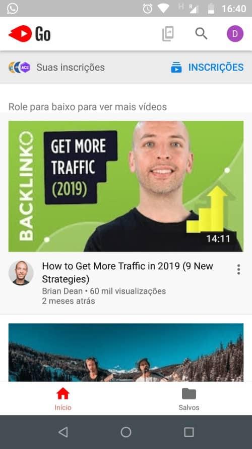 página inicial Youtube Go