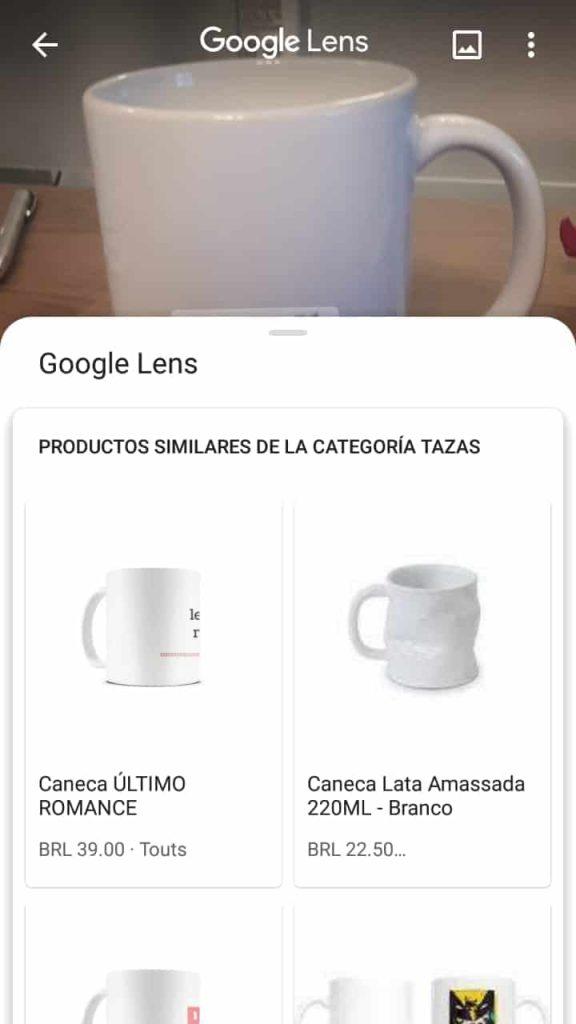 Busca por canecas no Google Lens