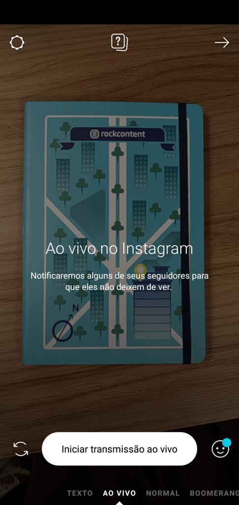 Ao vivo, função do Instagram
