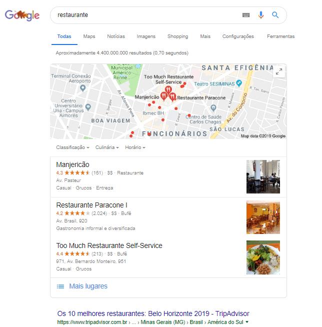 busca por restaurante