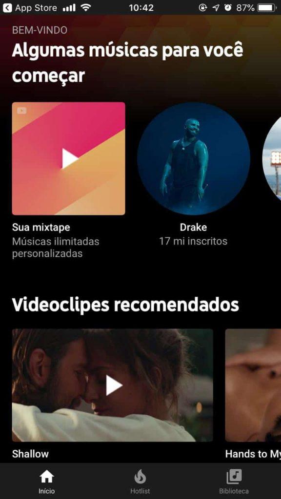 Opções de músicas recomendadas no Youtube Music